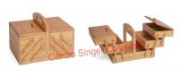 Cestino porta lavoro in legno chiaro a 3 piani (Medio)