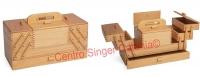 Cestino porta lavoro in legno chiaro a 3 piani (Grande)